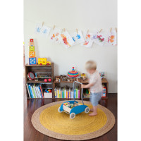 Armadillo + Co Junior Collection. Pinwheel rug in natural / canary. Size 1.22m 100% hemp. RRP: $295 www.armadillo-co.com