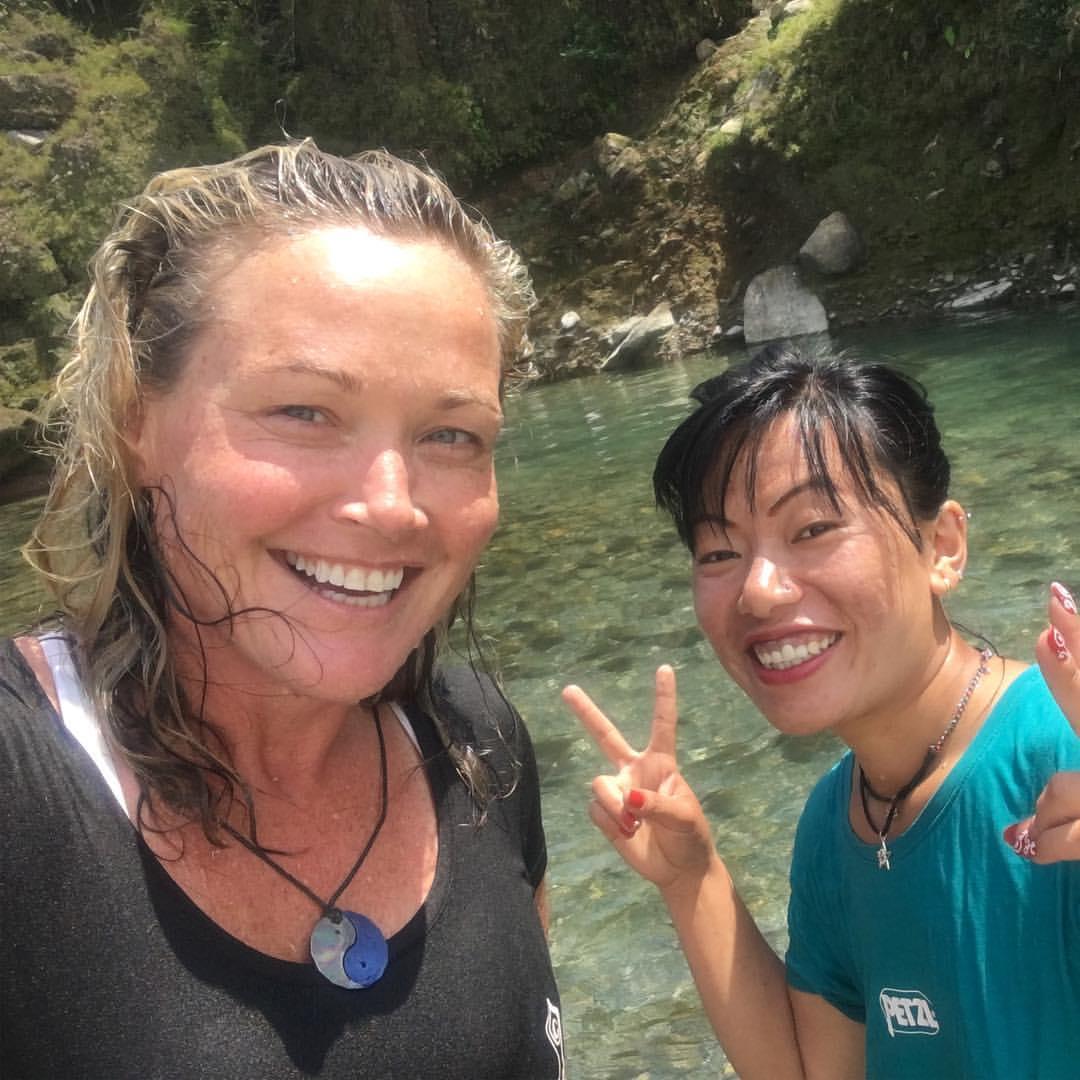 Me & a Nepali Friend (DIdi - sister in Nepali) swimming in Nepal