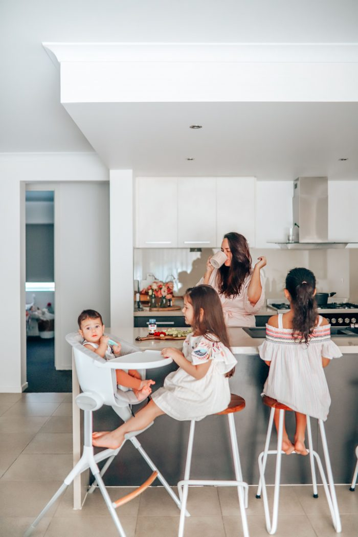 social media influencer Melbourne mum with kids in kitchen