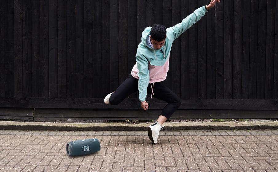 Dancer with JBL Speaker