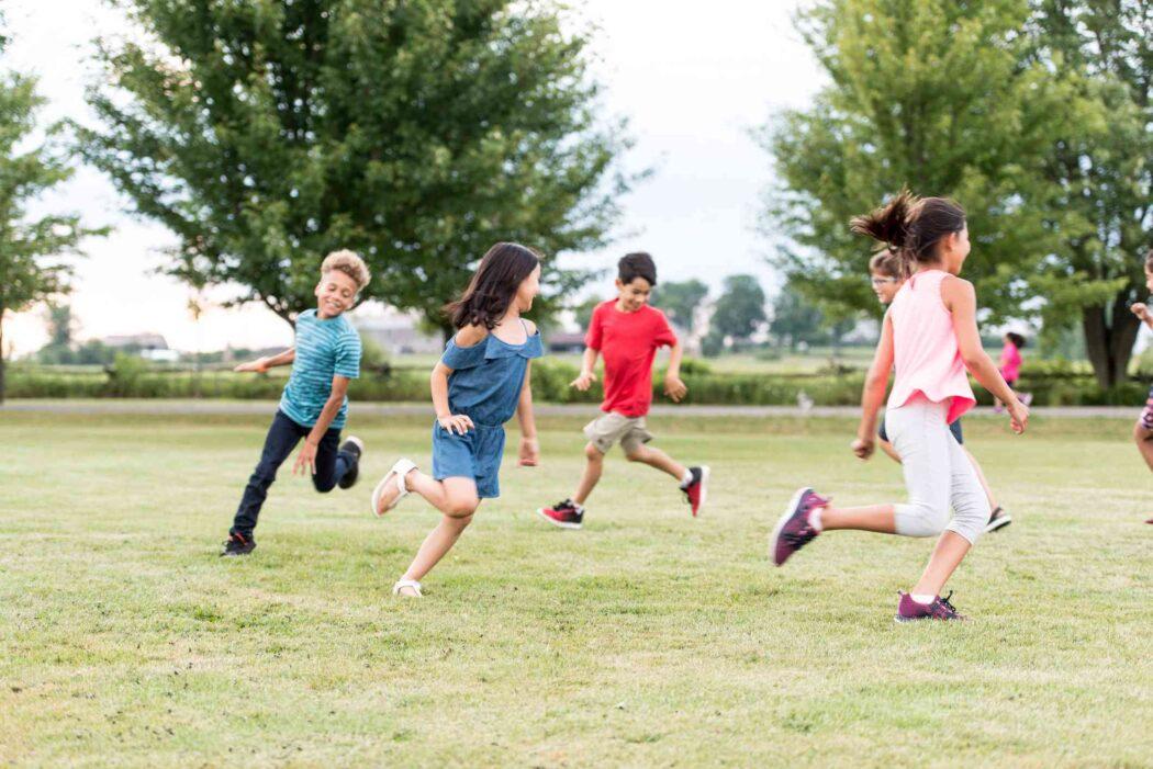 Kids outside running