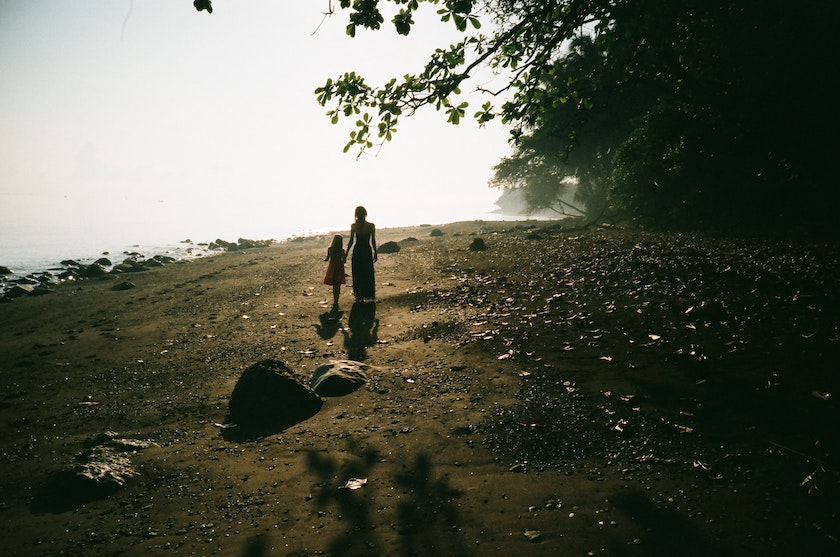 Woman and Child Walking